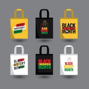 Black history month vorlage. design für einkaufstasche oder druck.