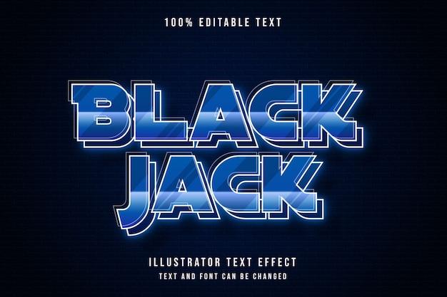 Black jack, 3d editierbarer texteffekt blaue abstufung neon textstil