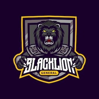 Black lion warrior maskottchen logo design