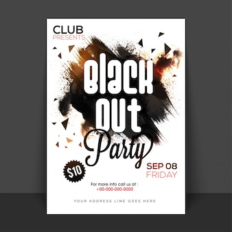 Black Out Party Poster, Banner oder Flyer mit abstrakten Pinselstrichen.