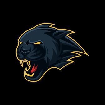 Black panther kopf maskottchen esport, sport-logo
