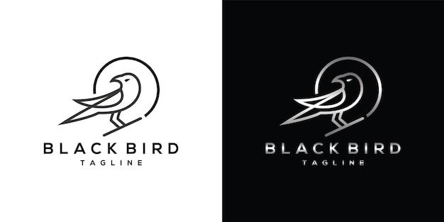 Black raven strichgrafik-logo