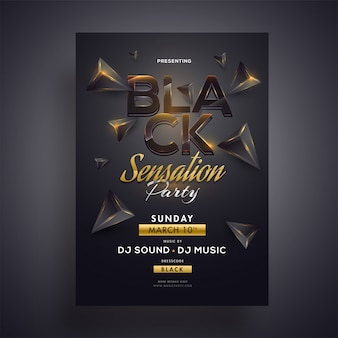 Black sensation party flyer oder template-design mit 3d geometrisch