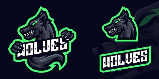 Black wolf maskottchen gaming logo vorlage für esports streamer facebook youtube