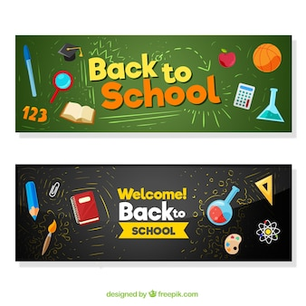 Blackboard banner mit material in flachem design
