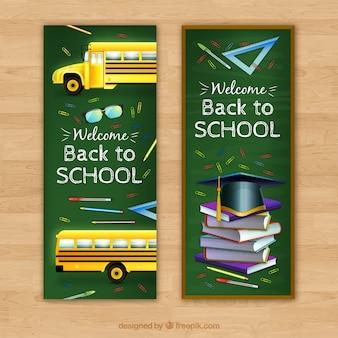 Blackboard banner mit schulmaterial und bus
