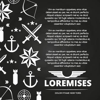 Blackboard poster design mit schwertern