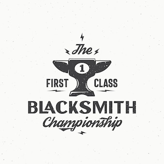Blacksmith championship abstract vector vintage zeichen, emblem oder logo-vorlage.