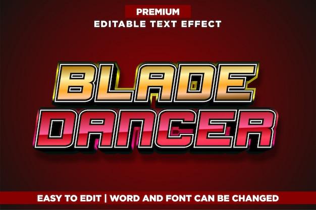 Blade dancer, bearbeitbarer texteffekt im logo-stil