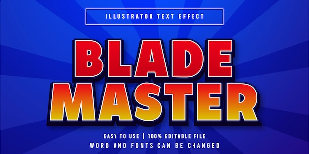 Blade master, bearbeitbarer spieletitel texteffekt grafikstil