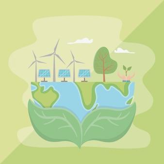 Blätter halten planeten und sparen energie design