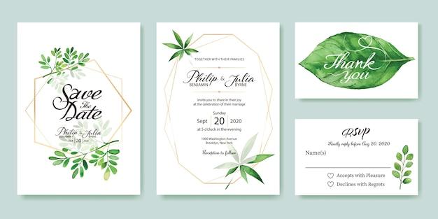 Blätter hochzeit einladungskarte.