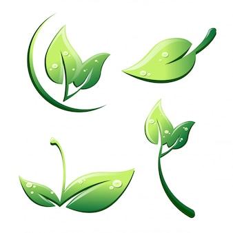 Blätter im cartoon-stil mit tropfen gesetzt