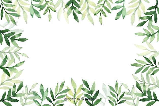 Blätter mit blumenhintergrund des kopienraumaquarells