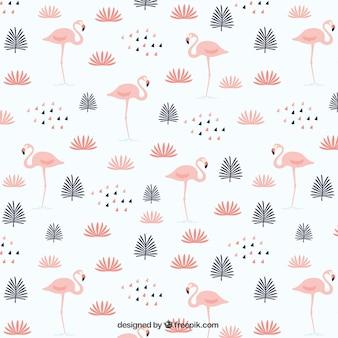 Blätter mit flamingos muster