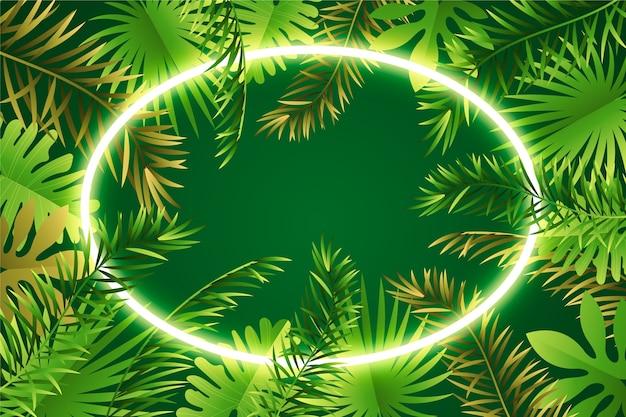Blätter mit neonrahmen realistisch