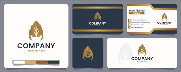 Blätter, schüssel, logo-design und visitenkarte
