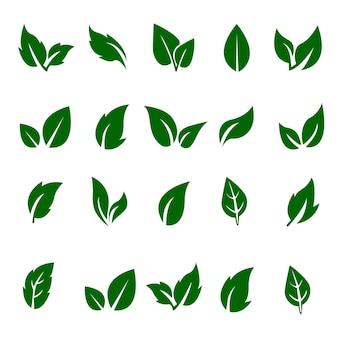 Blätter setzen öko-symbole isoliert auf einem weißen