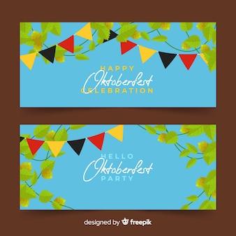 Blätter und girlanden oktoberfest banner