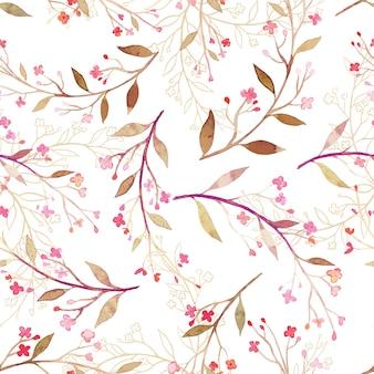 Blätter und kleine blume nahtlose muster aquarell stil