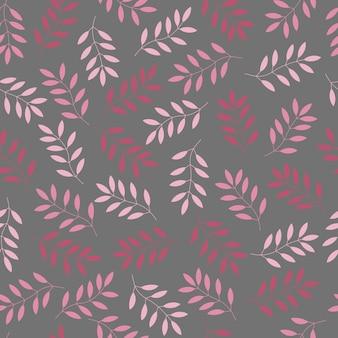 Blätter von rosa colore ton auf grauem hintergrund