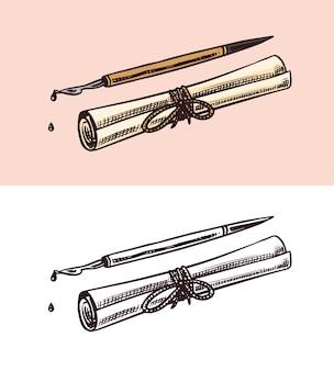 Blättern sie papier und einen stift zum schreiben von tropfender tinte in retro-vektorillustration im vintage-gravurstil