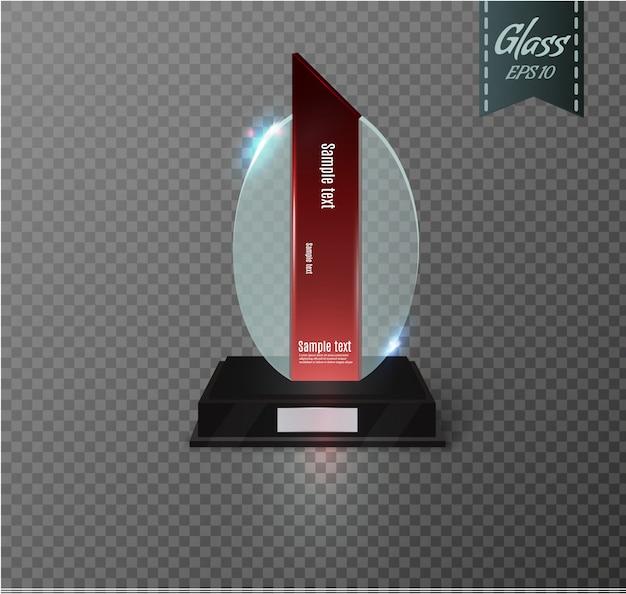 Blank glass trophy award auf transparentem hintergrund. glänzende trophäe für illustrationspreis. realistisch leer. schwarzer stand.