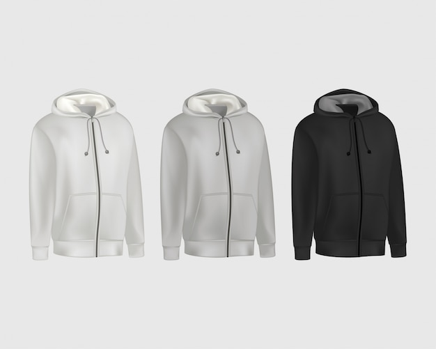 Blank grau, schwarz herren hoodie sweatshirt langarm. männlicher kapuzenpulli mit vorderansicht der haube.