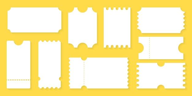 Blank tickets design für flugzeug, zug, bus, kino, party, zirkus, festival oder konzert. leere ticketvorlage. gutscheinmodell, leere leere tickets.
