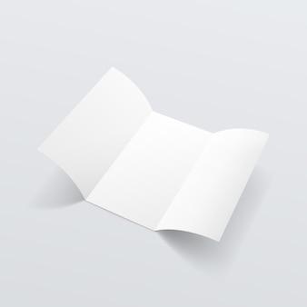 Blank white paper trifold broschüre faltblatt zickzack gefalteter flyer