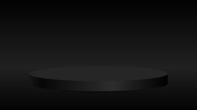 Blanker runder sockel studioszene schwarzes rundes preisgekröntes podium für herausragendes luxusprodukt