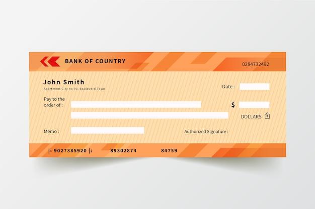 Blanko-scheck-vorlage im flachen design