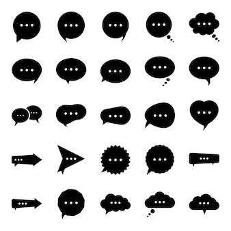 Blasen-chat-glyphen-ikonen-satz
