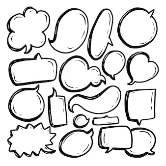 Blasensprachensammlung mit schwarzer linie und weißem hintergrund