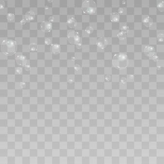 Blasenvektor. seifenblase auf einem transparenten hintergrund. design.