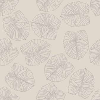 Blasses monstera-blattelement nahtloses handgezeichnetes muster. exotisches hawaii botanisches laub
