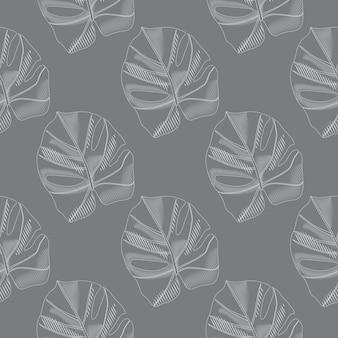 Blasses nahtloses muster mit doodle monstera lässt silhouetten. einfache botanische laubschattenbilder.