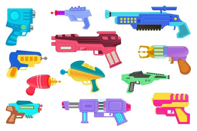 Blaster. futuristische weltraumspiel-designwaffe. laser-pistole oder blaster-pistolen-set isoliert. kosmische armee raygun ausrüstung. vektorsammlung des schießgeräts der virtuellen realität