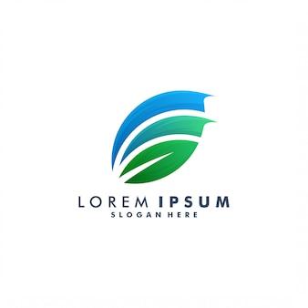 Blatt bunte logo-schablone, naturikonenlogotyp-entwurfsillustration