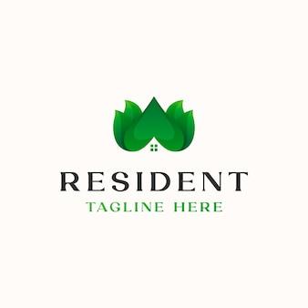 Blatt-dach-haus-farbverlauf-logo-vorlage in weißem hintergrund isoliert