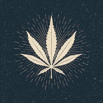 Blatt der hellen marihuana-silhouette auf dunklem hintergrund. vintage gestaltete illustration
