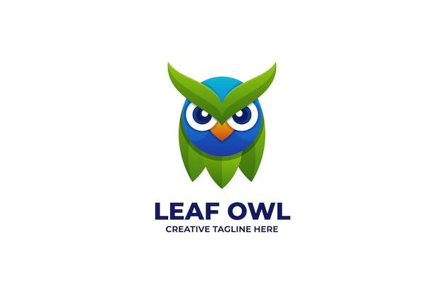 Blatt-eule logo mit farbverlauf