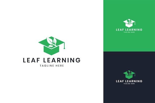 Blatt lernen negativraum-logo-design