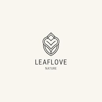 Blatt-logo-design-vorlage mit herz-flachlinien-logo eingekreist