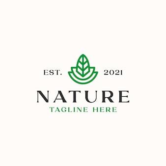 Blatt-monoline-logo-vorlage in weißem hintergrund isoliert