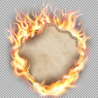 Blatt papier in flammen.