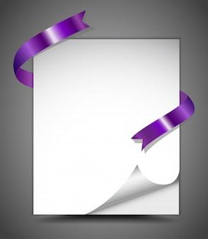 Blatt papier mit band