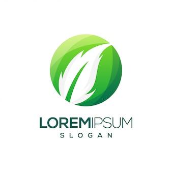 Blatt runden bunten farbverlauf logo