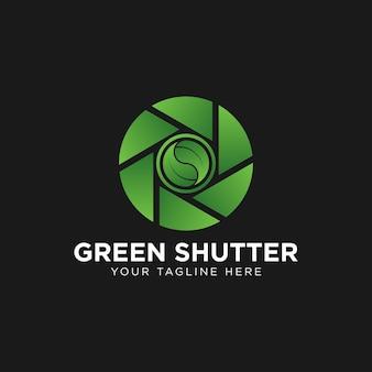 Blatt- und verschlusslinse für naturfotograf-logo-design