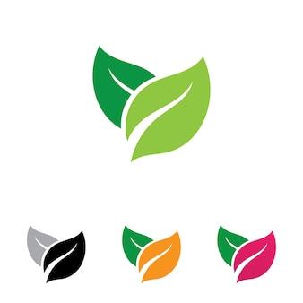 Blatt verlässt logo grünes vektorbild